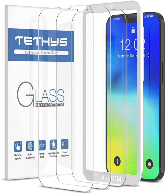 TETHYS 3 Pack Glass Screen Protector Compatible with iPhone 13 Pro Max 2021